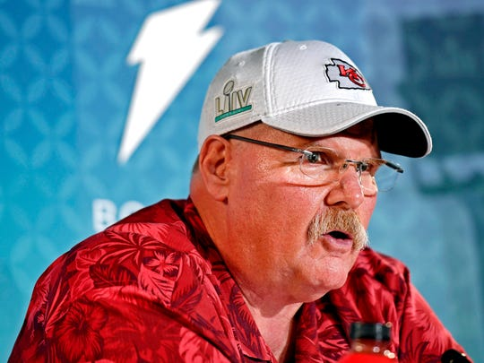 Jan 27, 2020; Miami, FL, USA; Kansas City Chiefs head coach Andy Reid during Super Bowl LIV Opening Night at Marlins Park.  Mandatory Credit: Douglas Defelice-USA TODAY Sports