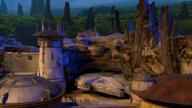 Model of the Star Wars inspired lands being built at Disneyland and Disney World