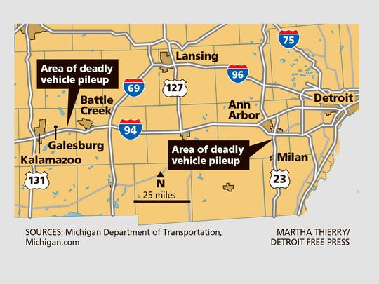 Blowing, powdery snow turned ice-covered roads into perilous channels of smashed cars and twisted tractor-trailers with three people dead on Friday as drivers struggled to see through the whiteout across southern Michigan.
