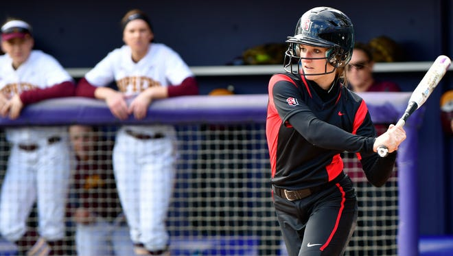 Seattle's Paige Bouska, a McNary graduate, looks to get things started in the top of the first during Seattle U vs Minnesota at Husky Softball Stadium.