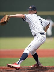 Teurlings Catholic's Josh Taylor gets the start on the mound for the Rebels in the LHSAA state baseball class 4A championship game between Teurlings Catholic and West Quachita on Saturday in Sulfur.