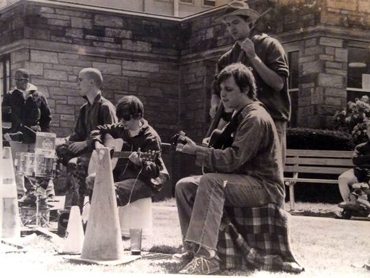 Dr. Dog performs at West Chester University around 1999. The band included (left to right) original drummer Ted Mark, Scott McMicken, Wilmington's Toby Leaman and Doug O'Donnell playing stand-up bass.