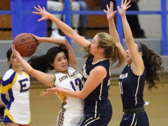 Eastwood's Bianca Robinson, left, looks for an outlet while being harassed by Coronado's Meagan Bean, center, and Laura Milliorn, right, Friday night at Eastwood. The T-Birds beat the Troopers 61-31.