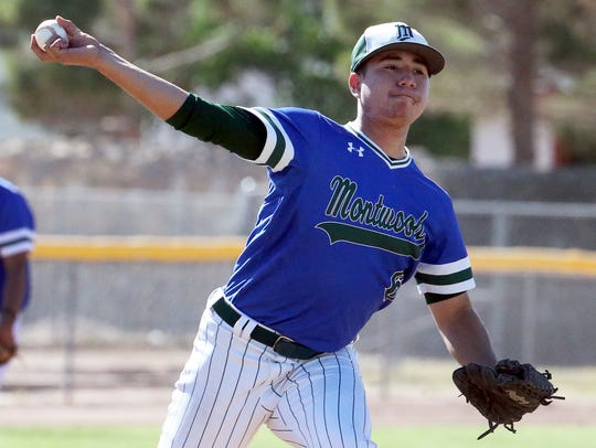 Montwood pitcher Eric Estrada, 6, fires to first base