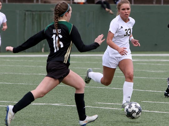 Rider's Maddie Kyle (33) goes after the ball Monday,