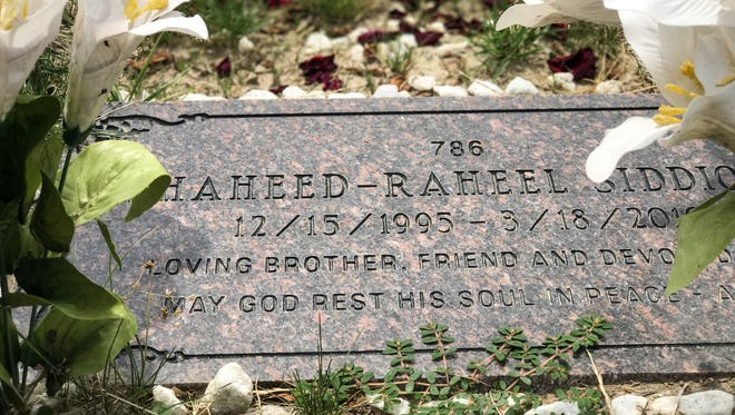 The gravesite of Raheel Siddiqui in Woodmere Cemetary in Detroit in July 2017.