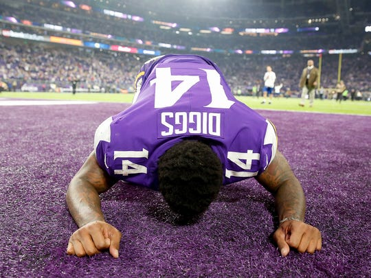 Stefon Diggs #14 of the Minnesota Vikings celebrates after defeating the New Orleans Saints in the NFC Divisional Playoff game at U.S. Bank Stadium on January 14, 2018 in Minneapolis, Minnesota.