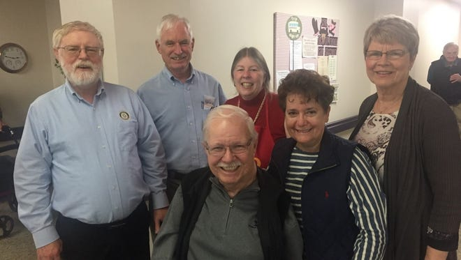 Farmington Rotarians Phil Abraham (from left), Rotary District 6380 Governor Elect Barry Fraser, District Polio Chair Ginger Barrons, Carolyn Fraser.   Front Row: Bruce Sachs and Dianne Dych-Sachs, Board Chairman and Secretary of Michigan Polio Network.