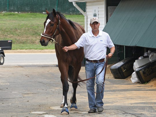Super Filly Untapable makes her way out of the barn at Monmouth Park with assistant trainer Darren Fleming.