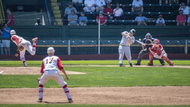 Rice's Nick Ritchie strikes out against CVU during the Division I state high school baseball championship at Centennial Field in Burlington on Saturday, June 13, 2015.