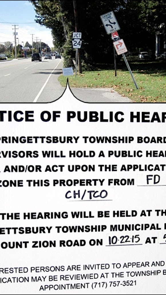 """Original Public Hearing sign in front of """"Bloomingdale"""" along East Market Street in Springettsbury Township (2015 Photo, S. H. Smith)"""