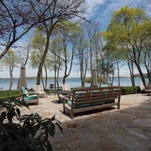 Airy, graceful lakeside house with small beach on Orchard Lake