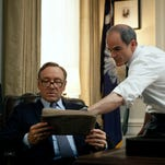 """In this image released by Netflix, Michael Kelly appears in a scene from """"House of Cards."""" The third season of the political drama will be available on Netflix on Friday Feb. 27, 2015. (AP Photo/Netflix, Nathaniel Bell)"""