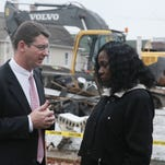 Salisbury Mayor Jim Ireton talks with then-Assistant City Administrator Lore' Chambers in 2012.