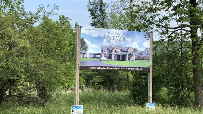 This sign near Seneca Point Road in South Bristol has been up for a long time and was seen last week on the property where a years-long application process for Everwilde was withdrawn on Monday.