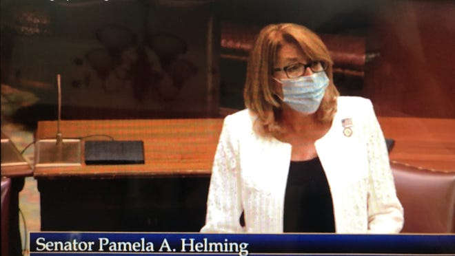 Sen. Pam Helming, R-Canandaigua, speaks on the state Senate floor July 21 about revoking Gov. Andrew Cuomo's expanded emergency powers that were granted in March to deal with the pandemic.