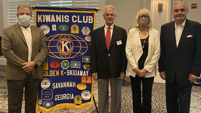 From left: Mark Toth, Union Mission Director of Major Gifts & Organizational Strategy and Kiwanis liaison, Kiwanis of Skidaway Island President Bobby Gillham, Patricia Youngquist, executive director of grant recipient Union Mission, and incoming Kiwanis President Jim Overton and chair of Kiwanis Grant Distribution Committee.