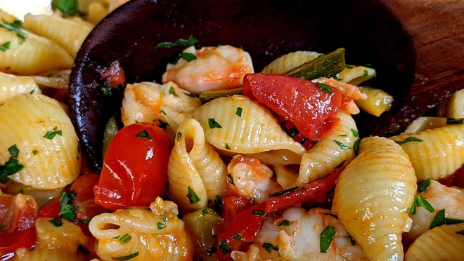 Skillet Pasta Shells with Shrimp, Grape Tomatoes, and Zucchini.
