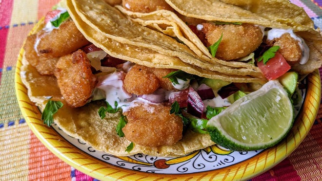 Fried Shrimp Tacos, made with reheated fried shrimp and the usual taco garnishes. Find this and more recipes from Damon at SavannahNow.com/accent/columnists.
