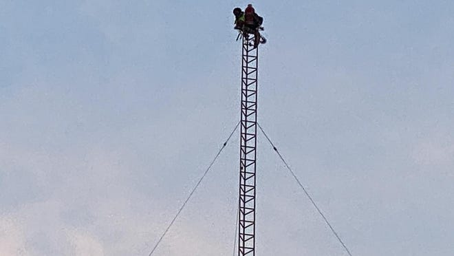 A man had scaled the WGML radio tower Monday morning when he was found screaming for help at 6 a.m., according to Hinesville Police department. He was coaxed off the tower shortly before 2 p.m.