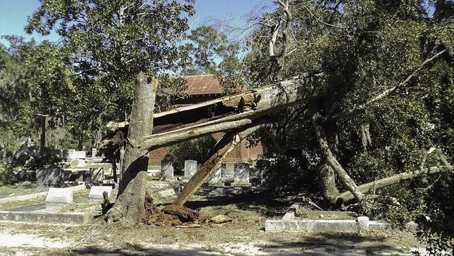 Bonaventure Histoircal Society has been working on cleaning up the damage, show here, from Hurrican Matthew in October 2016.