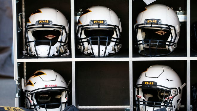 Helmets at Sun Devil Stadium in Tempe, Ariz.