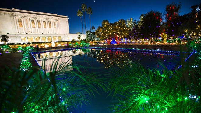Lights illuminate the Mesa Arizona Temple Gardens on Wednesday, Nov. 30, 2016. The lights are on display 5-10 p.m. through Dec. 31.