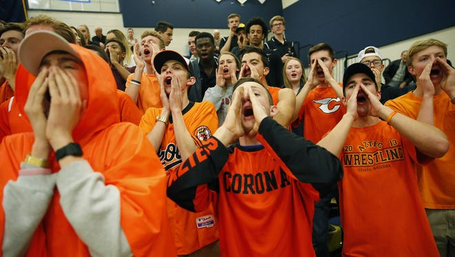 Corona del Sol students chant against Desert Vista during a game in Phoenix January 17, 2017.
