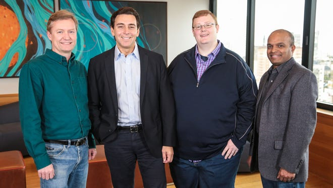 From left: Peter Rander, Argo AI COO; Mark Fields, Ford president and CEO; Bryan Salesky, Argo AI CEO; and Raj Nair, Ford executive vice president, Product Development, and chief technical officer. Ford is investing $1 billion during the next five years in Argo AI, combining Ford's autonomous vehicle development expertise with Argo AI's robotics experience and startup speed on artificial intelligence software.