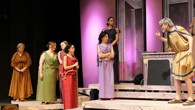Six women face off against Belpyrus (Tanner Crow), the husband of new leader Praxagora (Katrina Pearson, fourth from left): The others are, from left: Gusistrate (Holleigh Owens), Sostrate (Laurel Alldedge), Melistice (Hailey Rodgers), Clinarete (Ashleigh Moss) and Rhodia (Symone Fieldler).