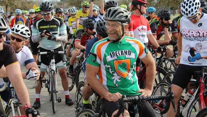 Chuck Patton dresses appropriately, Saturday, both in cycling gear for the 26th Steam-N-Wheel ride and for St. Patrick's Day. Patton was to ride the 48-mile course. He has participated in more than 20 of the annual March events.