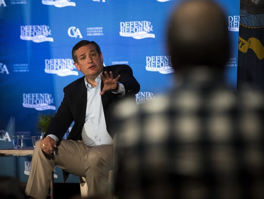 Sen. Ted Cruz discusses health care issues during a