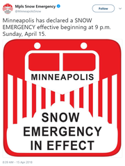 Snow emergency announced for Minneapolis Sunday.