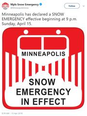 Snow emergency announced for Minneapolis Sunday.