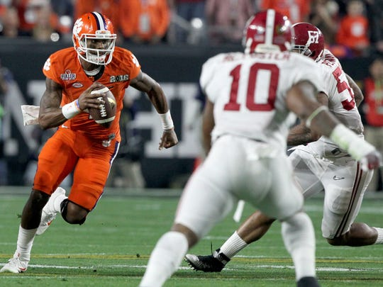 Clemson quarterback Deshaun Watson (4) threw for 405 yards and four touchdowns and rushed for 73 yards in last season's College Football Playoff National Championship Game against Alabama.