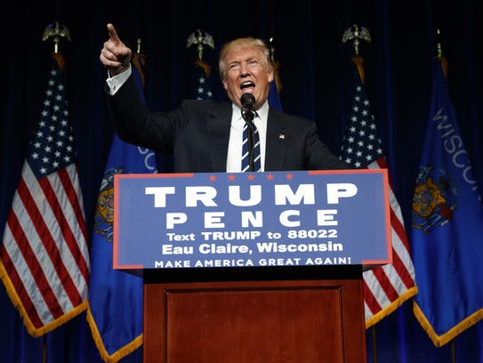 Donald Trump speaks during a campaign rally a week