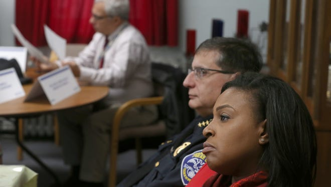 Rochester Mayor Lovely Warren, right, and Police Chief Michael Ciminelli  at a meeting with members of the Democrat & Chronicle editorial board in December.