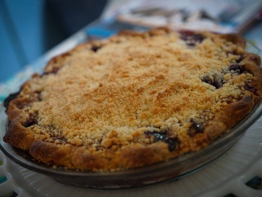 A cherry pie made by Amy Watson Bish rests in the kitchen.