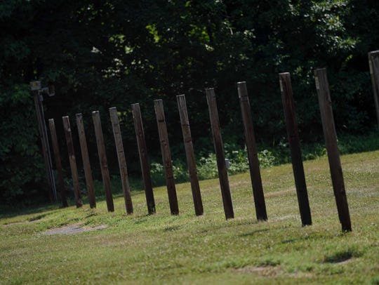 Wooden posts were used to hold targets for Delaware