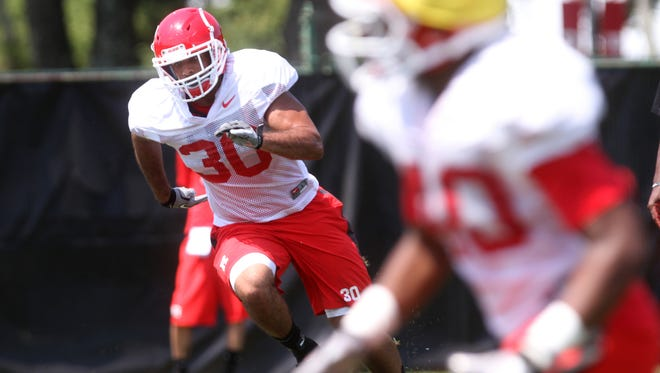 Andre Hunt (30) will be the elder statesman in the Rutgers defensive backfield on Saturday afternoon if Anthony Cioffi cannot play