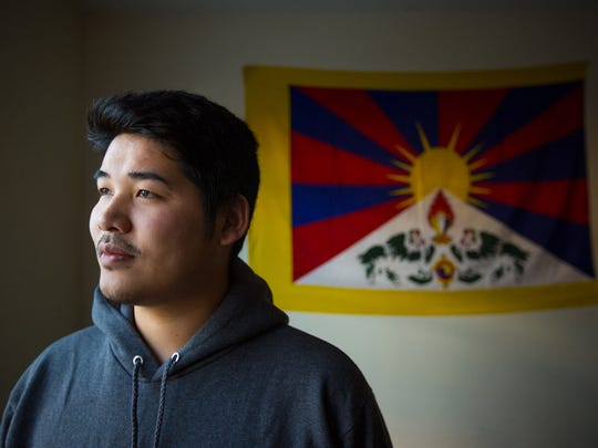 Trichen Lhagyari, king of Tibet, is pictured in his residence hall at Gettysburg College in Pennsylvania, where he is a student.