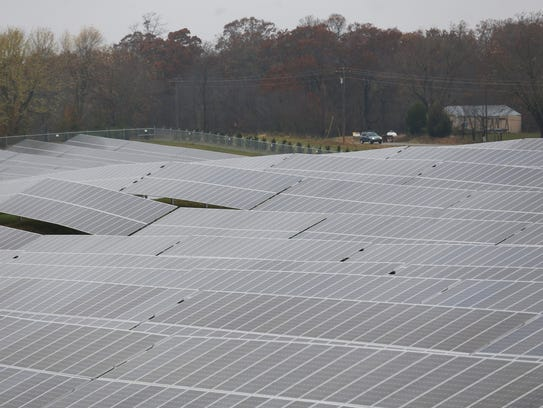 A dedication ceremony for the Nixa Solar Energy Farm