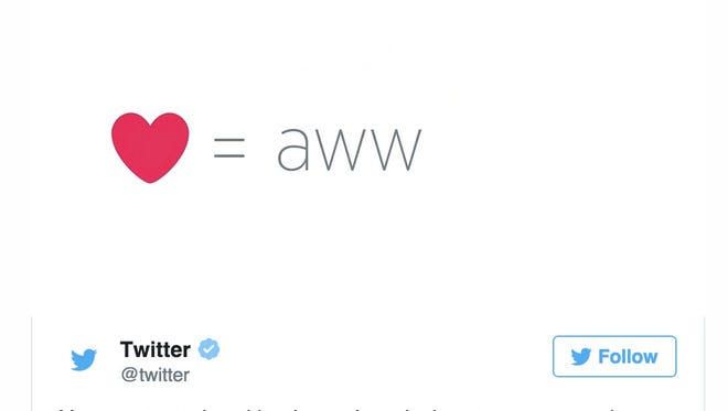 """Twitter has replaced the """"favorite"""" button with a """"heart"""" icon."""