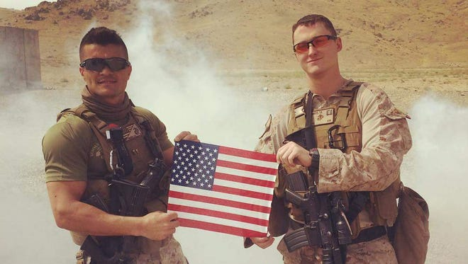 Gunnery Sergeant Geann Pereira, left, and Capt. Trey Kennedy.Both will receive the Navy and Marine Corps Medal for the same rescue operation in Afghanistan.