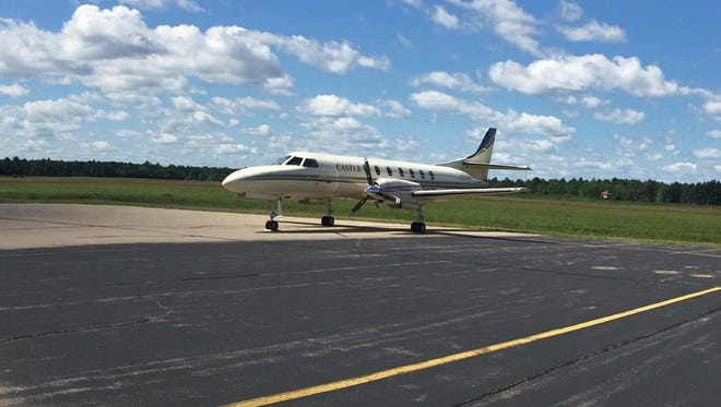 An airplane sits at the South Wood County Airport-Alexander Field Aug. 22, 2017.
