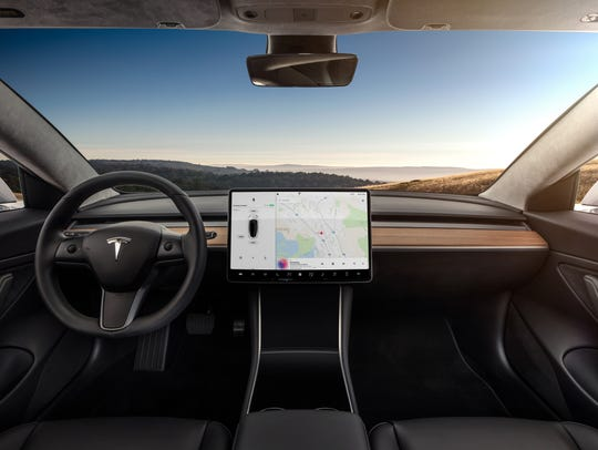Tesla's new Model 3 sedan features an extremely spartan