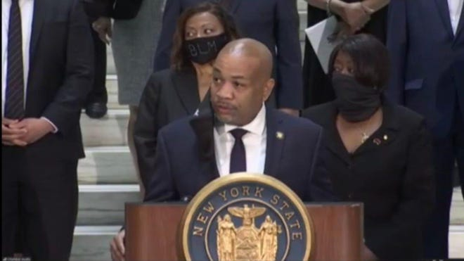 Assembly Speaker Carl Heastie, D-Bronx, speaks about a series of police accountability bills lawmakers are set to pass during the week; June 8, 2020.