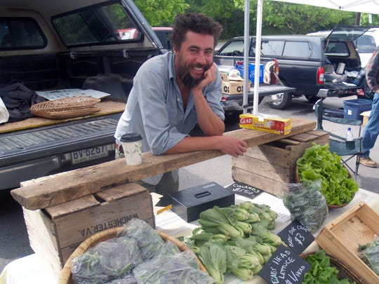 Rett Murphy from Aardvark Farms at the Asheville City Market.