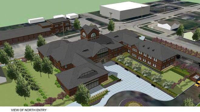 A conceptual rendering of a civic campus for North Liberty, which is in the preliminary stages of planning.