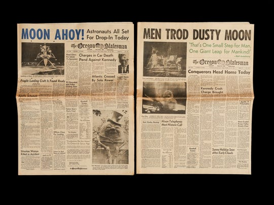 Headlines about the first landing on the moon are among the famous front pages preserved in the archives of the Statesman Journal.